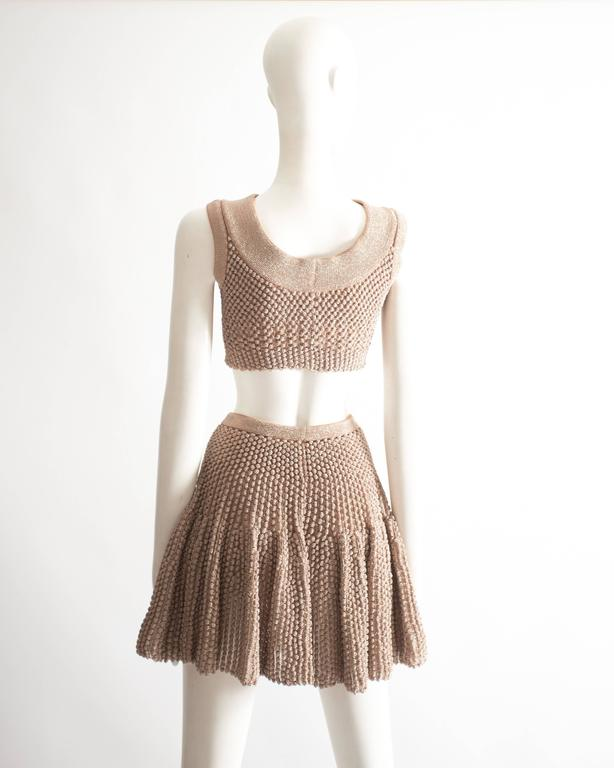 Alaia metallic lurex knit crop top and skater skirt evening ensemble  6