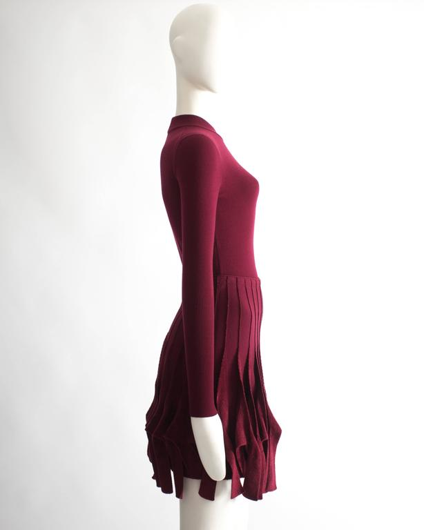 Alaia maroon chenille and wool body and skirt ensemble 6