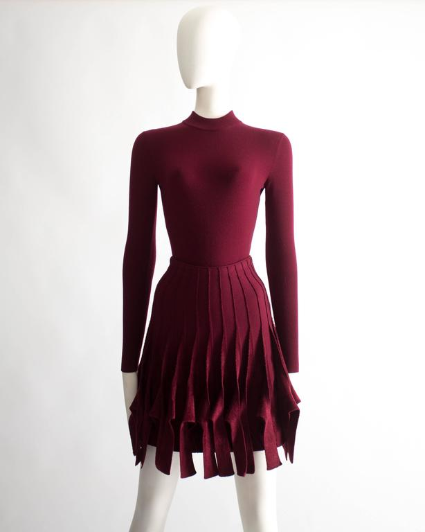 Alaia maroon chenille and wool body and skirt ensemble 2