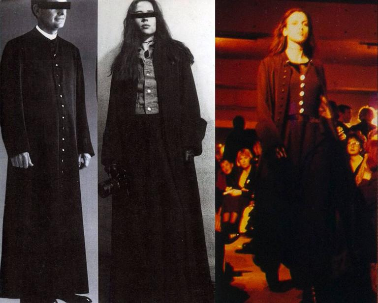 Maison Martin Margiela Autumn-Winter 1992 black cotton full length priest coat  - 31 button closures from the collar to the hem - 2 metal hook-and-eye closures on the collar - mandarin collar - large turn-over cuffs - 2 hidden side pockets -