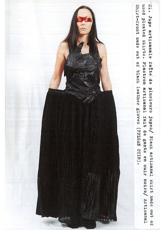 Margiela Spring-Summer 2001 artisanal leather glove top and skirt ensemble 3