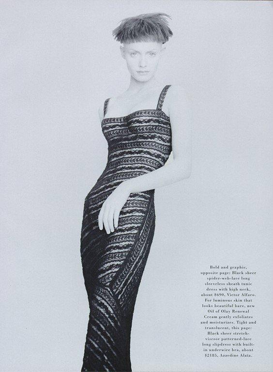 Alaia Autumn-Winter 1993 patterned lace evening dress with built in bra 2