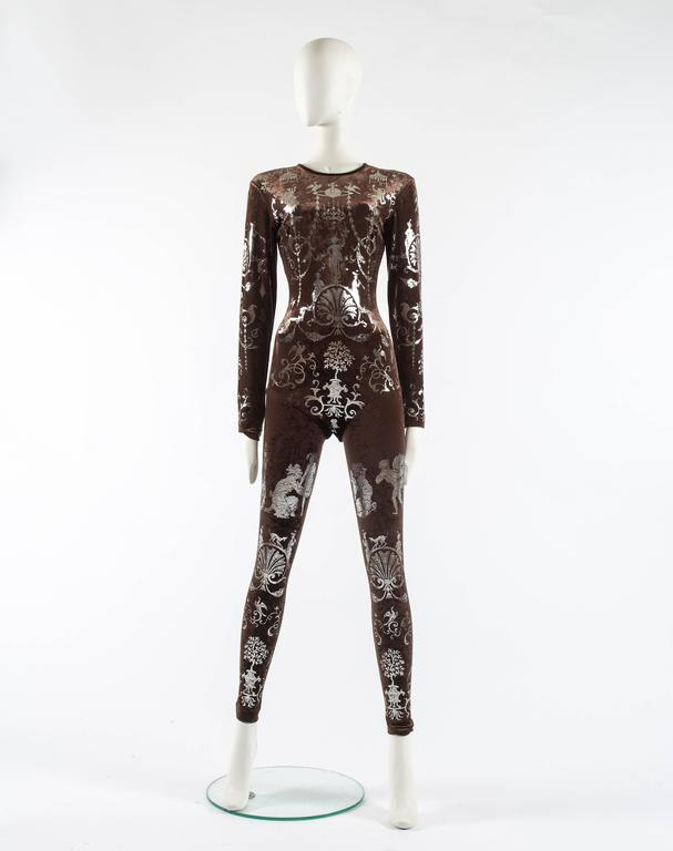 Women's Vivienne Westwood Autumn-Winter 1990 brown screen printed silver jumpsuit For Sale