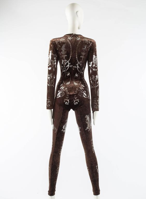 Vivienne Westwood Autumn-Winter 1990 brown screen printed silver jumpsuit For Sale 2