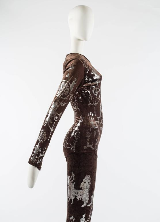 Vivienne Westwood Autumn-Winter 1990 brown screen printed silver jumpsuit For Sale 1
