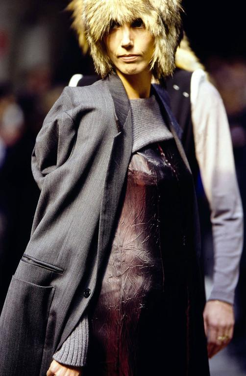 Maison Martin Margiela Autumn-Winter 1997 oversized blazer jacket worn with inverted sleeves.   - XXL cut - internal pointed shoulder pads - two button closure - one diagonal welt pocket on right chest - two jetted pockets  - two flat square
