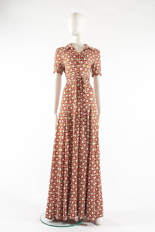 Hermes 1970s Novelty Print Jersey Maxi Dress At 1stdibs