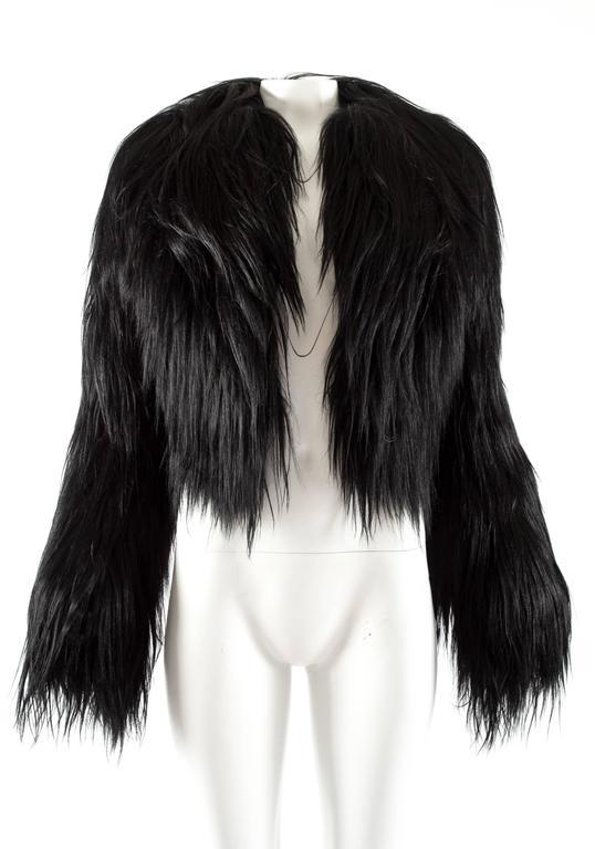 Alaia black goat hair jacket 2