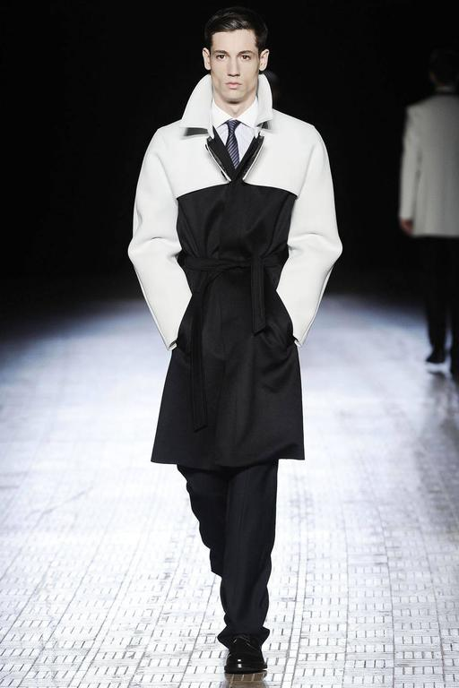 Raf Simons Autumn-Winter 2009 black wool coat with neoprene sleeves 2