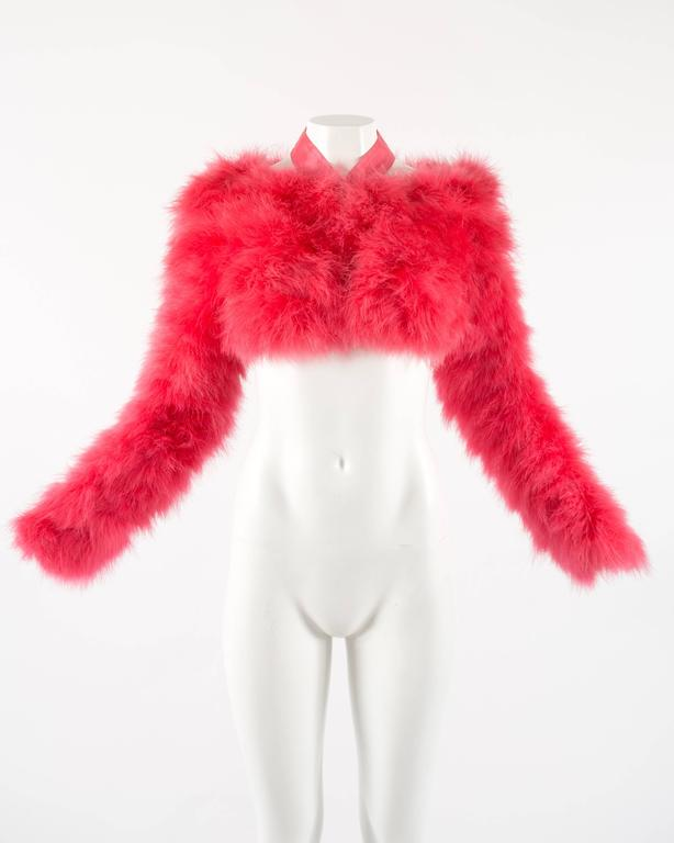 Tom Ford for Gucci Spring-Summer 2004 hot pink marabou bolero jacket  9
