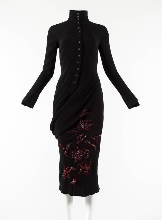 Black Alexander McQueen Autumn-Winter 1998 'Joan' beaded evening dress For Sale