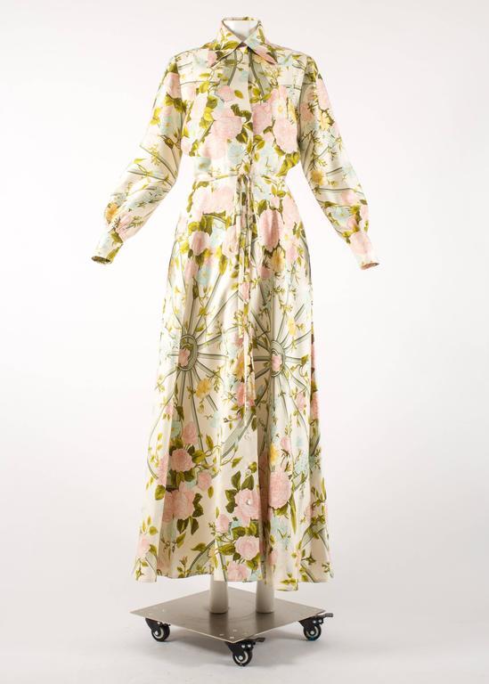 Hermes 1970s 'Romantique' couture silk floral maxi dress  2