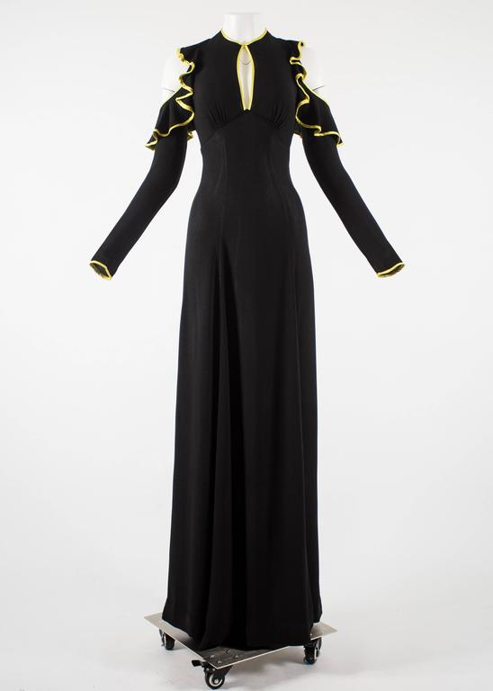 Ossie Clark 1968 black moss crepe evening dress with yellow satin trim 2