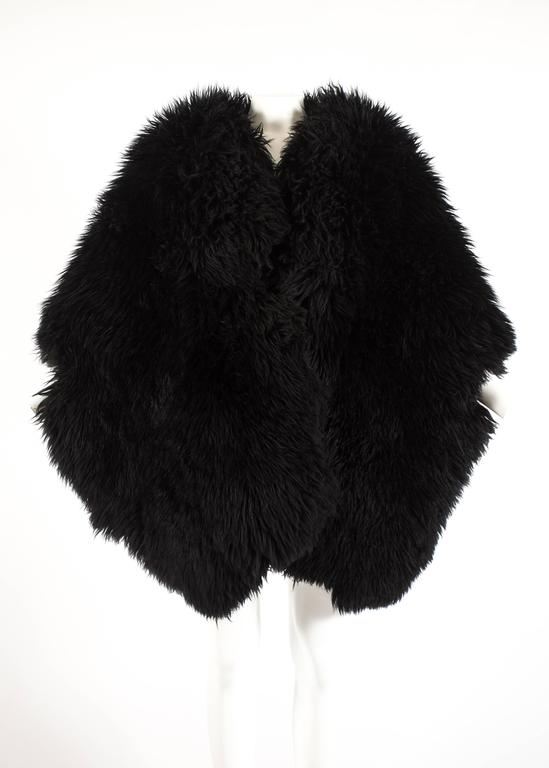 Vivienne Westwood Autumn-Winter 1992 oversized black sheepskin shawl 2