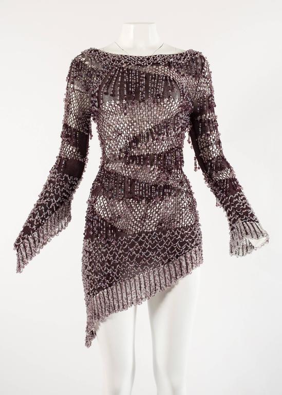 Julien Macdonald Autumn-Winter 2004 purple beaded knitted mini dress 2