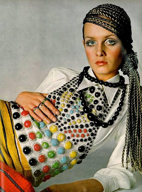 Jeanne Lanvin Spring-Summer 1968 Haute Couture embellished evening vest  Reference: Twiggy photographed by Richard Avedon for French Vogue, April 1968