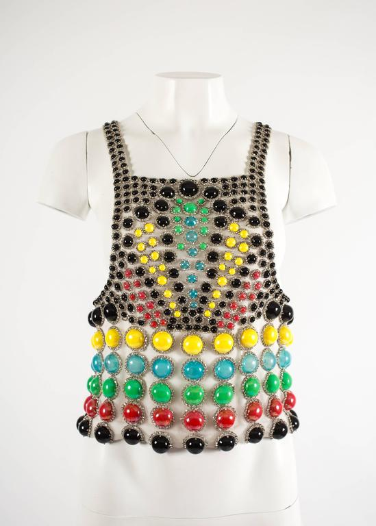 Brown Jeanne Lanvin Spring-Summer 1968 Haute Couture embellished evening vest For Sale