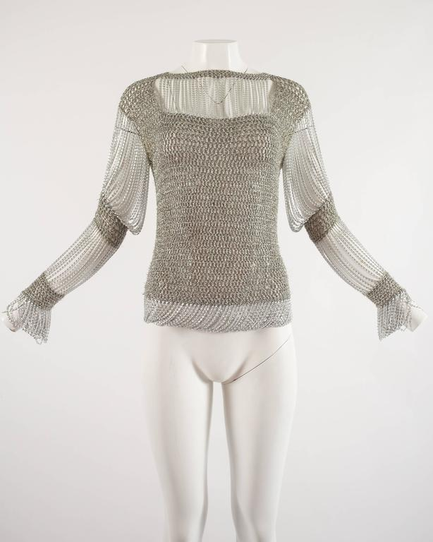 Loris Azzaro 1970 silver chain and lurex knit evening sweater 2