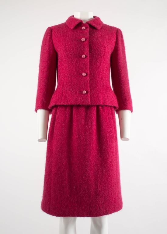 Balenciaga 1961 Haute Couture Cerise wool skirt suit  2