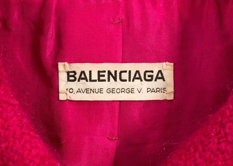 Balenciaga 1961 Haute Couture Cerise wool skirt suit  10