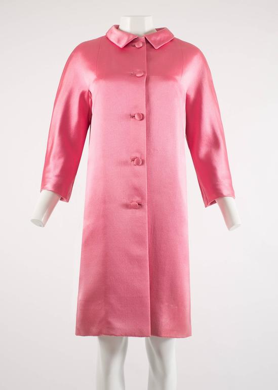 Balenciaga 1963 Haute Couture hot pink silk evening coat 2