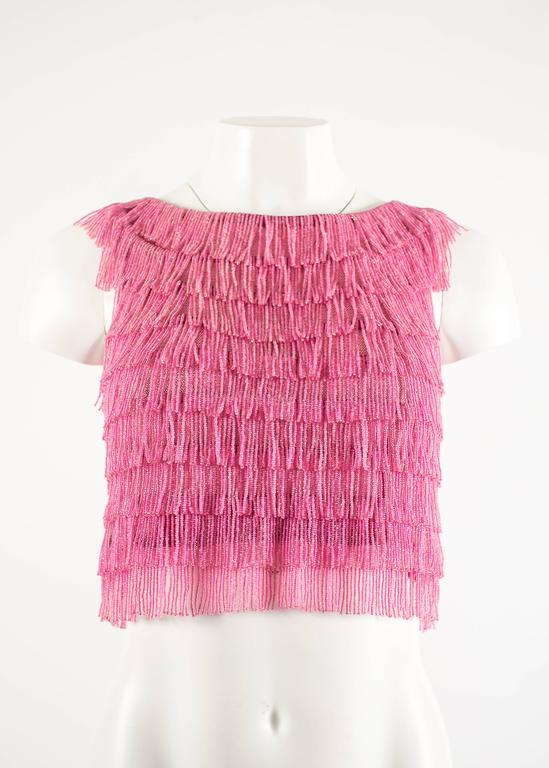 1960 hot pink beaded fringed cropped evening vest 2