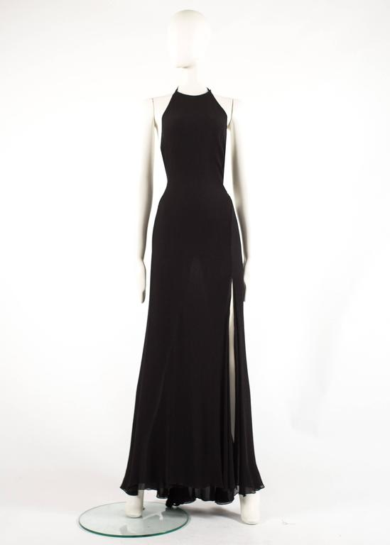 Gianni Versace 1990s black crinkled silk halter neck evening gown 2