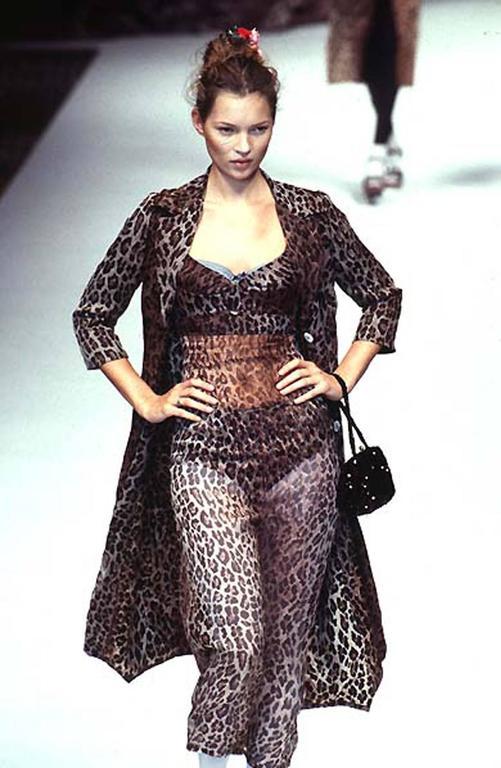 Dolce & Gabbana Spring-Summer 1997 leopard print mesh evening dress 3