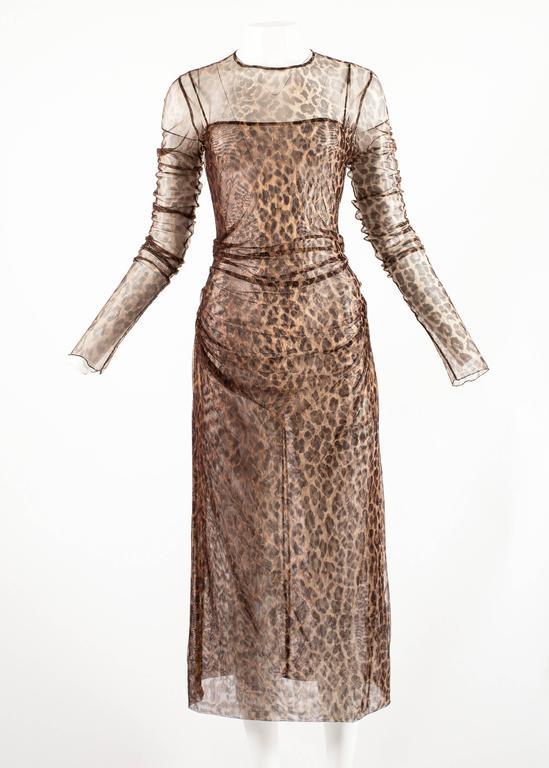 Dolce & Gabbana Spring-Summer 1997 leopard print mesh evening dress 2