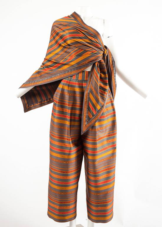 Brown Romeo Gigli for Callaghan Spring-Summer 1991 silk pant and shawl ensemble For Sale