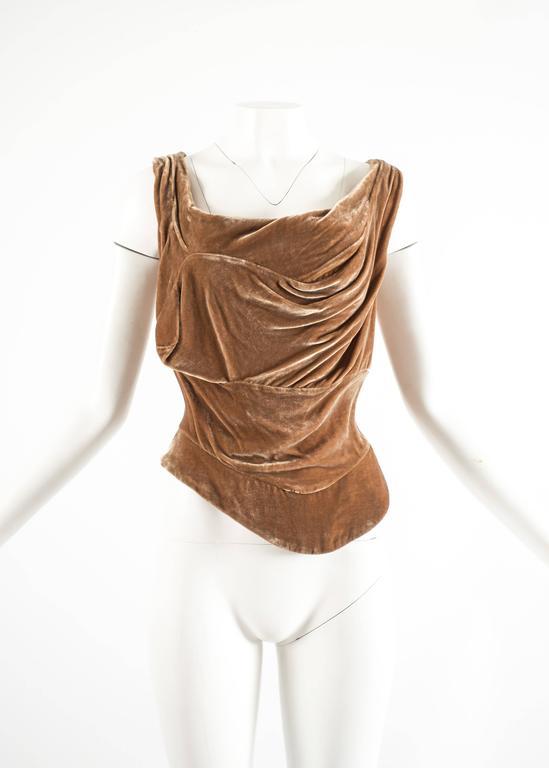 Brown Vivienne Westwood Autumn-Winter 2001 drape velvet evening corset For Sale