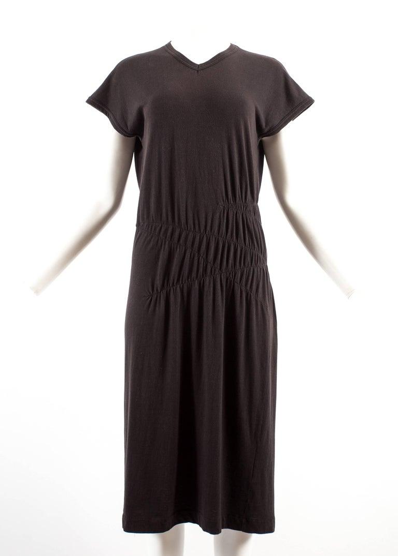 Black Comme des Garcons 1983-84 black cotton smocked dress For Sale