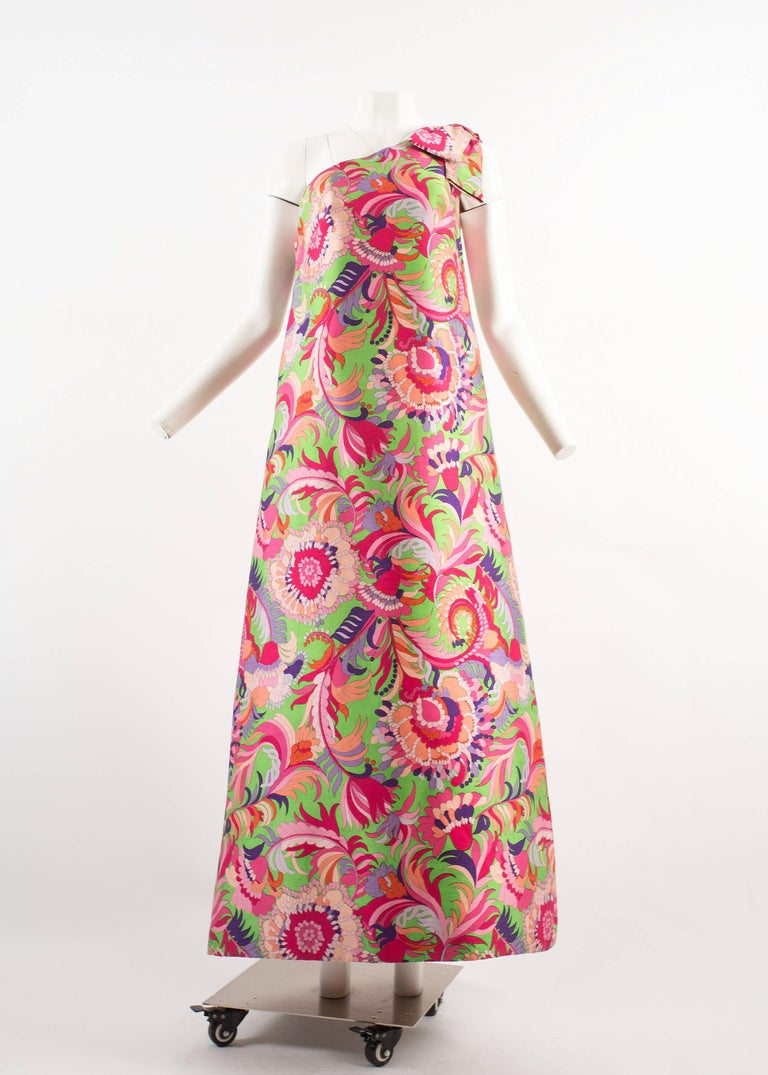 Christian Dior 1960s asymmetric silk evening a-line dress  - vibrant psychedelic printed on raw silk - large bow hangs on shoulders  - internal corset with boning  - matching shoes designed by Charles Jourdan  - made to a couture standard