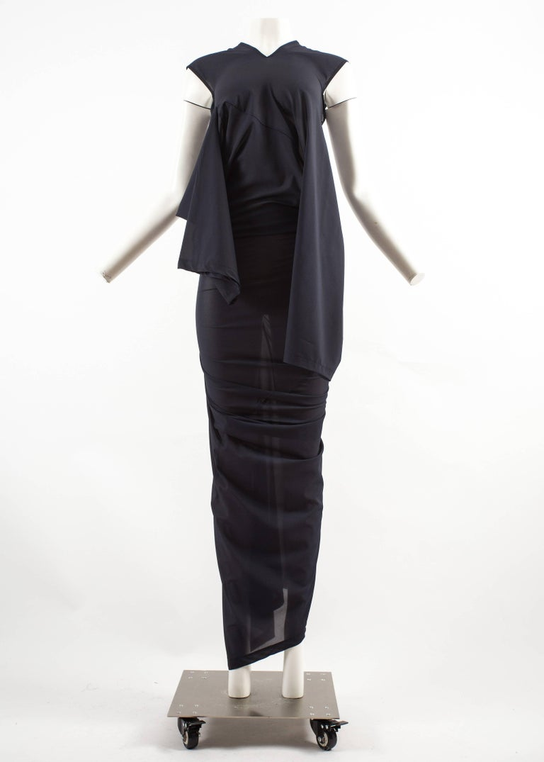 Black Comme des Garcons AD 1996 four sleeve navy blue twisted sheer maxi dress For Sale