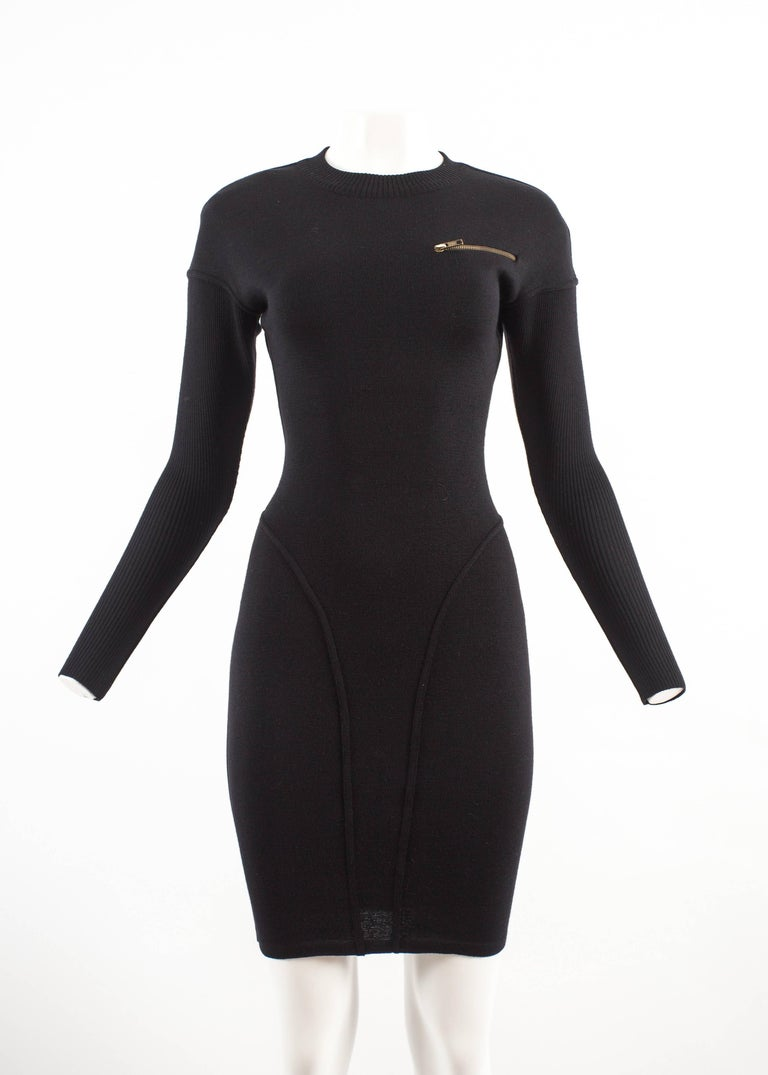 Black Alaia Autumn-Winter 1986 black knitted body con dress For Sale