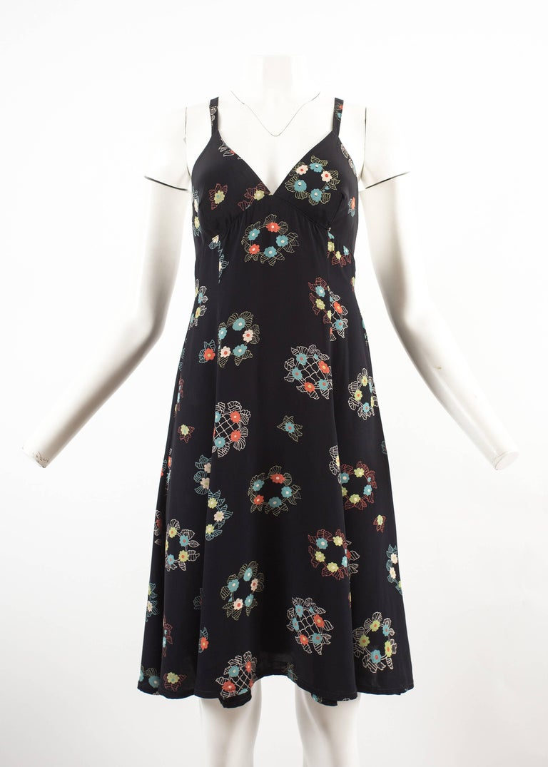 Black Ossie Clark 1970 mid length summer dress with Celia Birtwell print For Sale