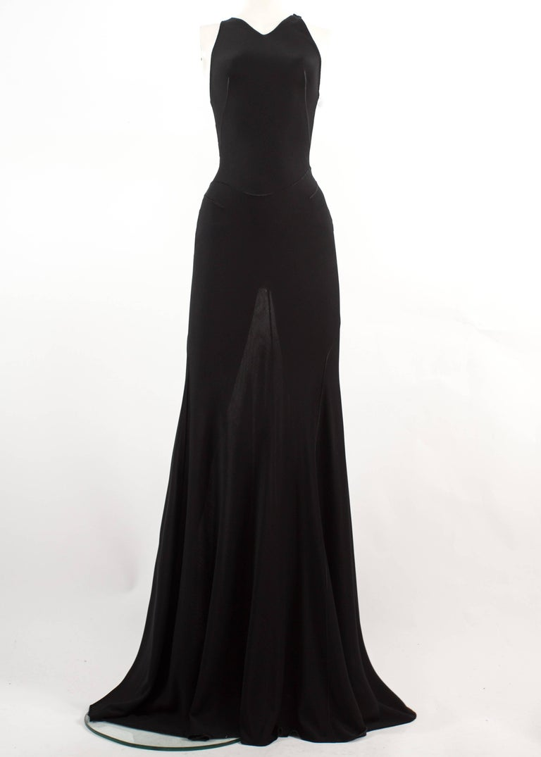 Azzedine Alaia Couture Autumn-Winter 2001 black full length knitted evening gown