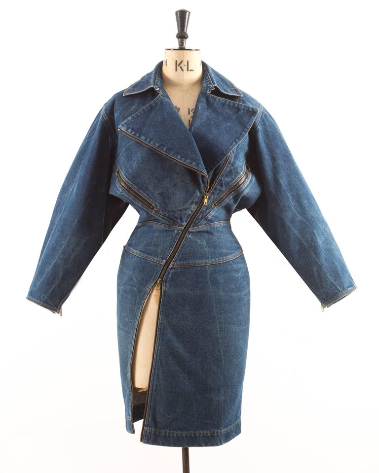 Black Alaia Autumn-Winter 1985 blue denim zipper dress For Sale