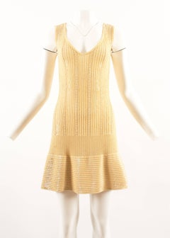 Alaia Spring-Summer 1996 sequinned and beaded lemon knit cocktail knit dress