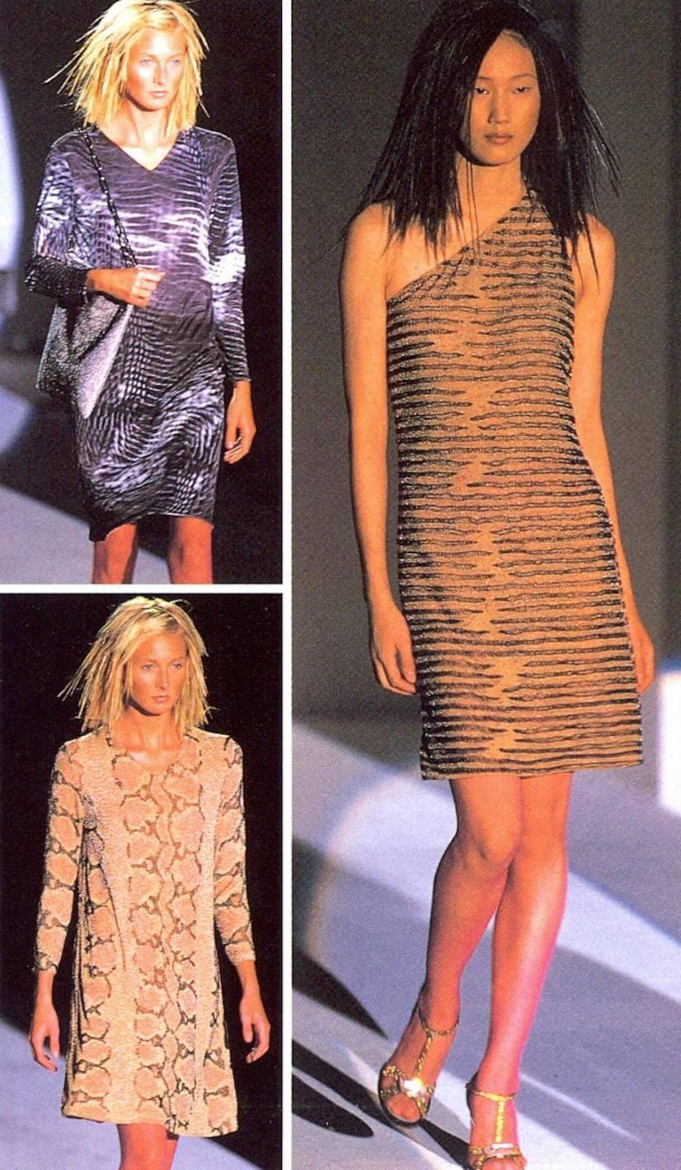 Women's Tom Ford for Gucci Spring-Summer 2000 beaded python print shift dress For Sale