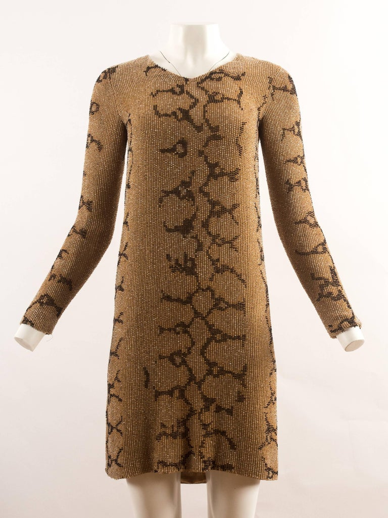 Brown Tom Ford for Gucci Spring-Summer 2000 beaded python print shift dress For Sale