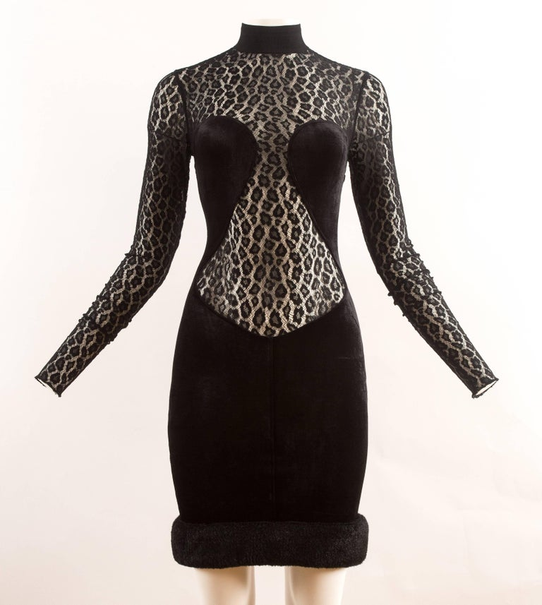 Alaia Autumn-Winter 1991 black velvet leopard lace evening dress 2