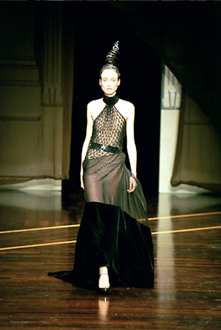 Gianfranco Ferre Autumn-Winter 1999 halter neck evening gown with velvet train, net bodice and black sequins