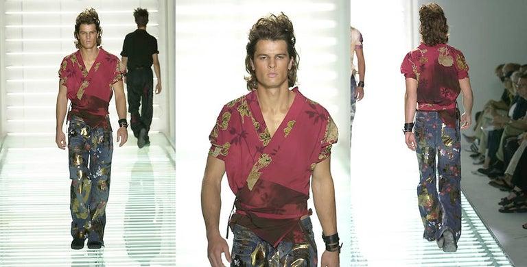 Black Tom Ford for Gucci Spring-Summer 2001 Men's painted floral denim jeans  For Sale