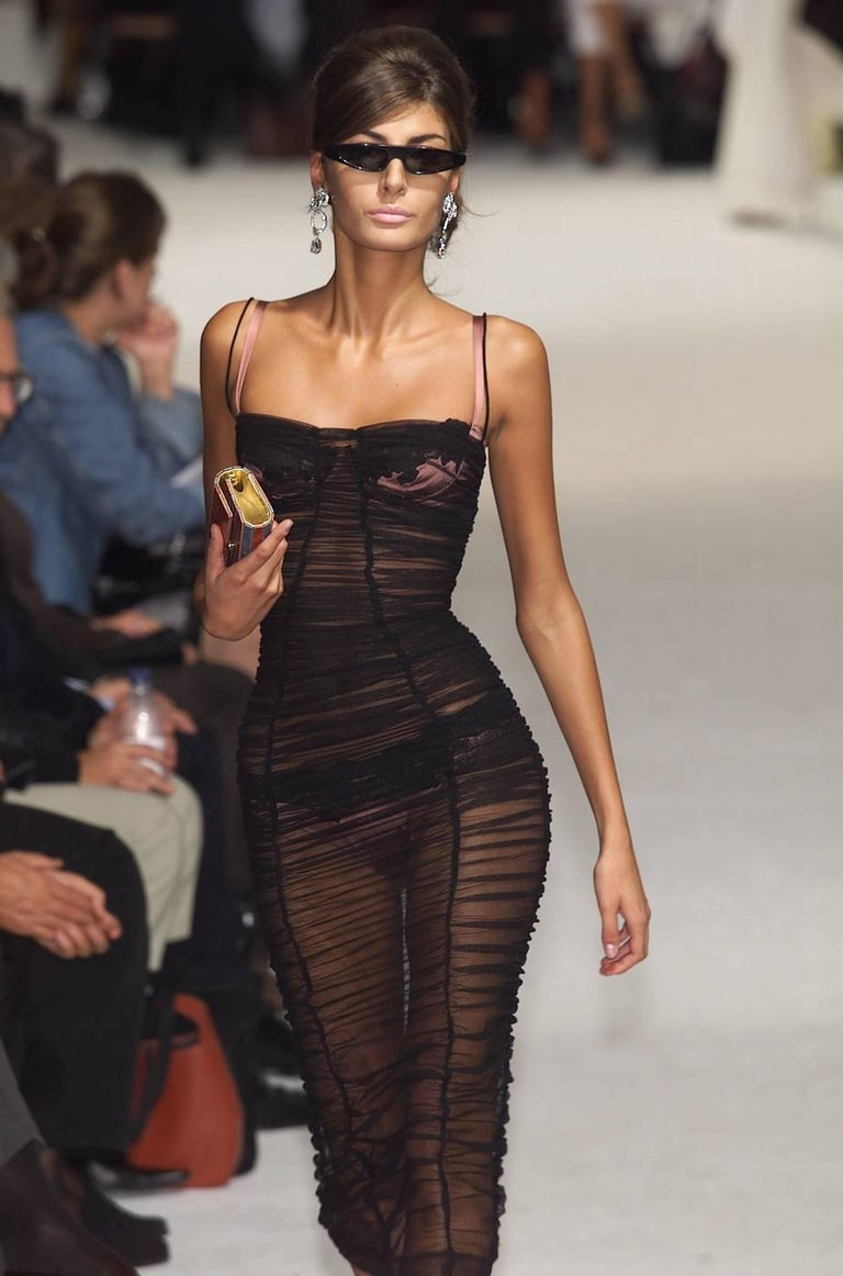 Dolce & Gabbana Spring-Summer 2001 black ruched tulle evening dress 2