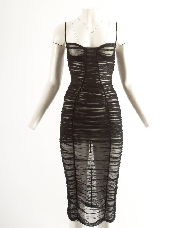 Dolce & Gabbana Spring-Summer 2001 black ruched tulle evening dress For Sale 1