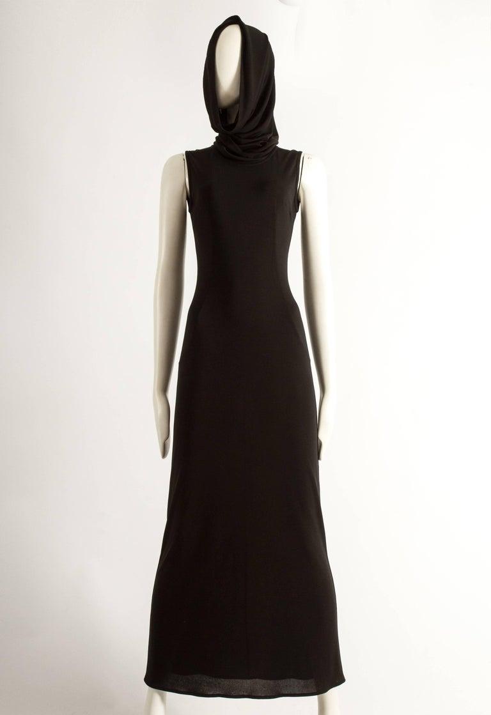 Women's Dolce & Gabbana Spring-Summer 1996 black hooded evening dress For Sale
