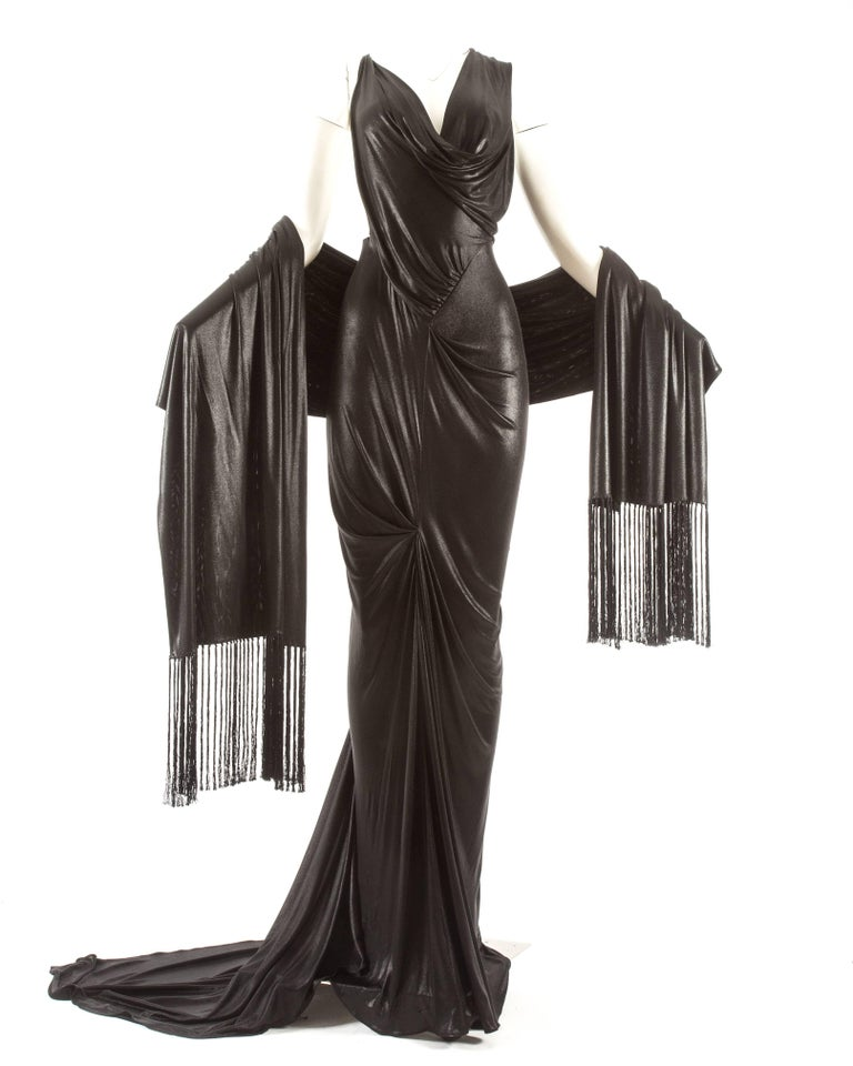 John Galliano backless black evening gown with fringed shawl  For Sale 4