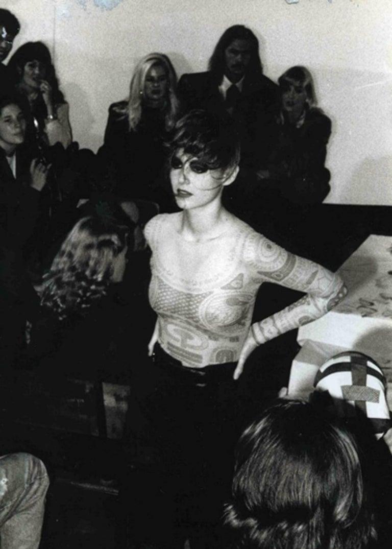 Beige Margiela trompe-l'œil tattoo mesh top, Spring-Summer 1989