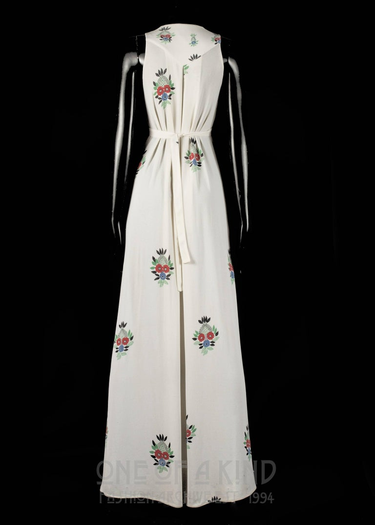 Women's Ossie Clark full length moss crepe maxi dress with Celia Birtwell print, 1970s For Sale